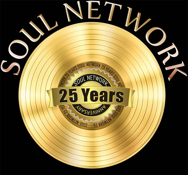 Soul Network 25 year Logo smaller with black background for website
