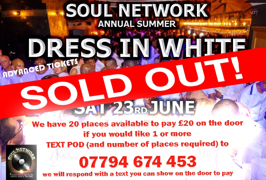 sold out FOR DRESS IN WHITE 20 on door