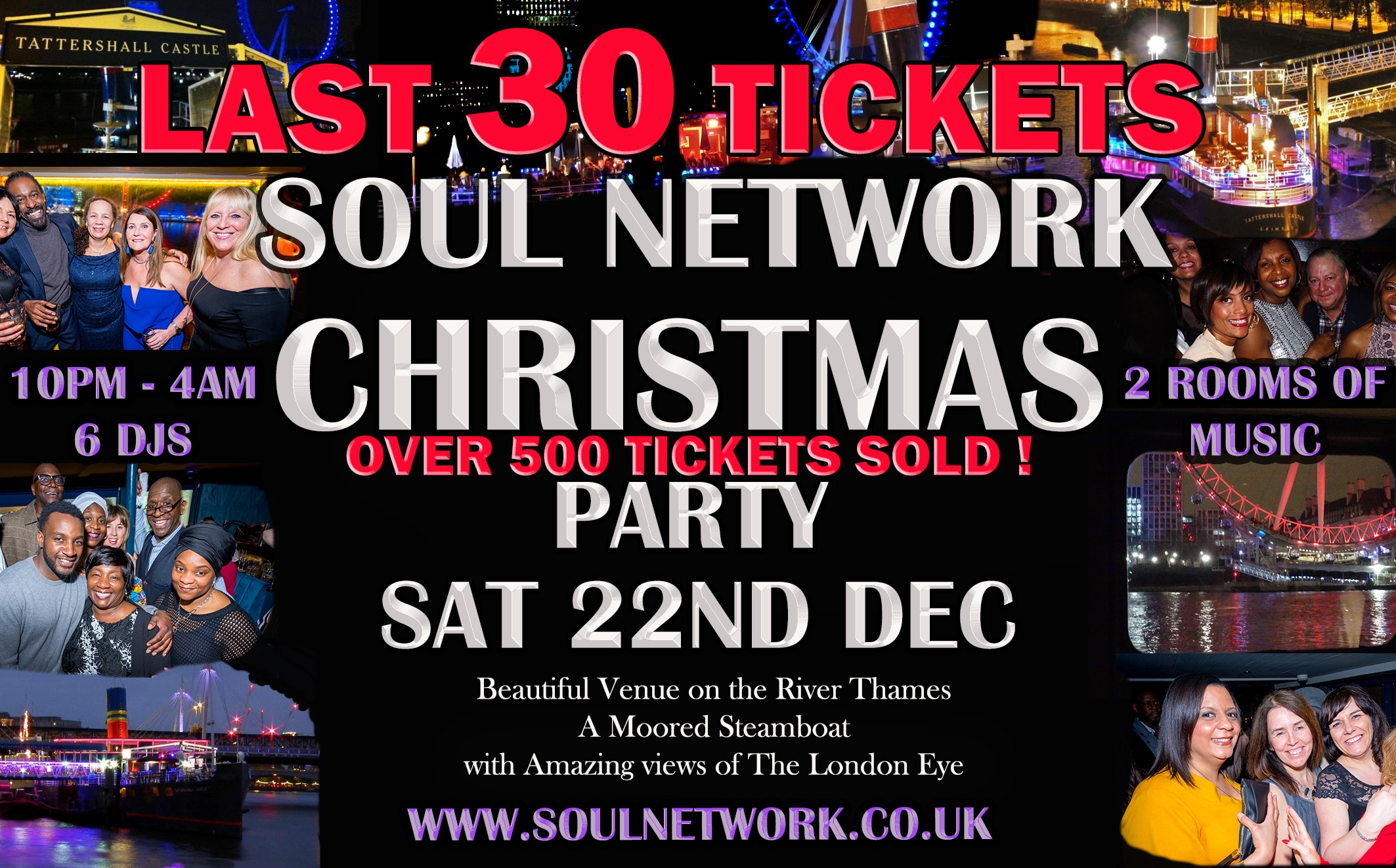 last 30 tickest now sold Christmas Party Flyer Tattershall