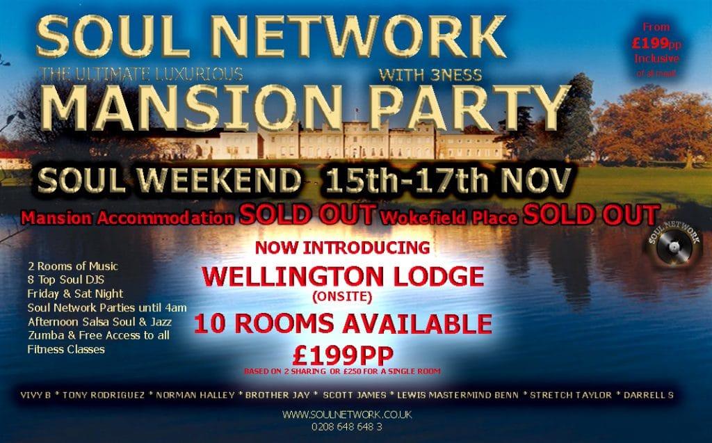 Wokefield-Park-Soul Network Mansion Party WEEKEND FLYER WELLINGTON LODGE