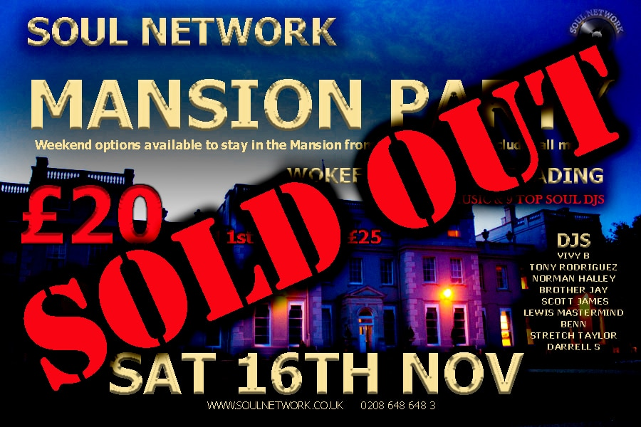 SOLD OUT mansion party flyer saturday night 16th November £20