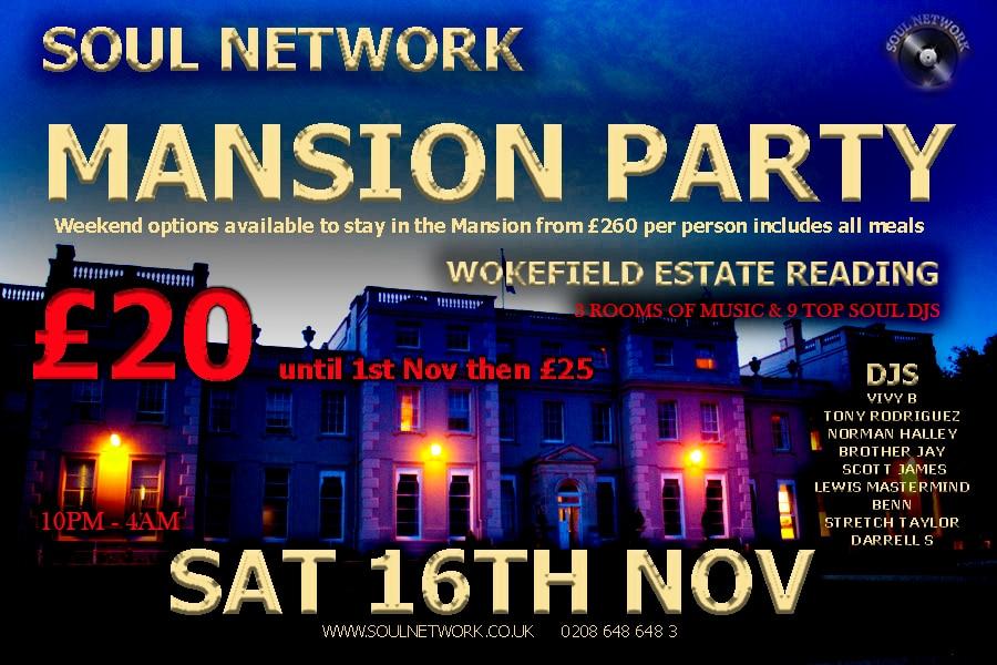 mansion party flyer saturday night 16th November £20